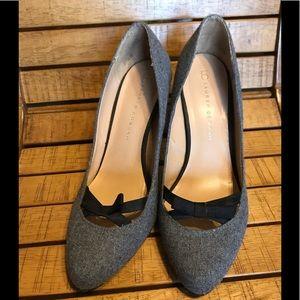 Gray wool blend fabric pump shoe